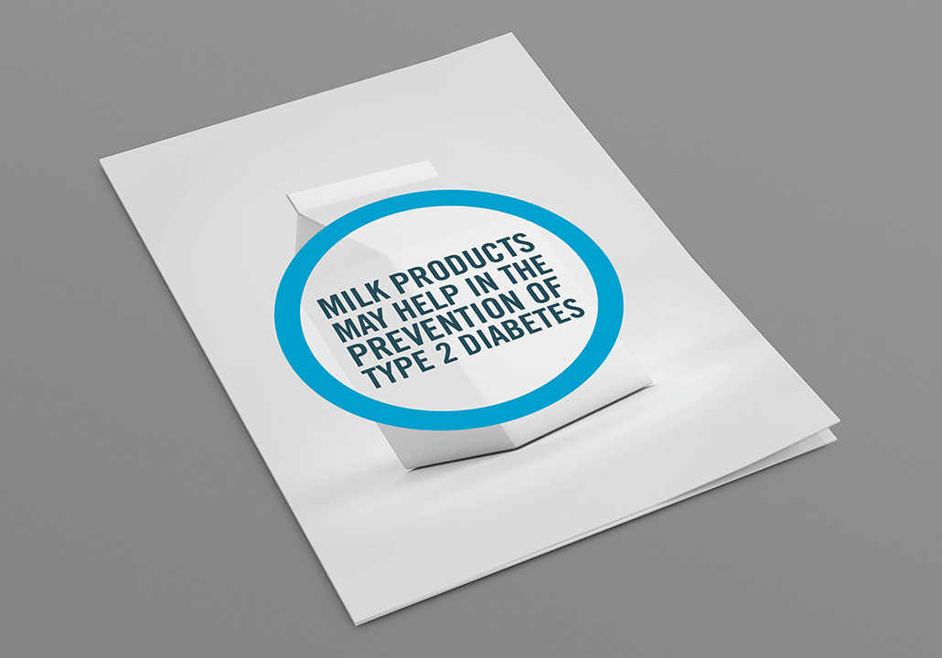 Thumbnail image for the Dairy Farmers of Canada project, representing a brochure laid on a grey background. The cover shows a picture of a white cardboard box of milk, and four lines of copy inside of a blue circle top of it.