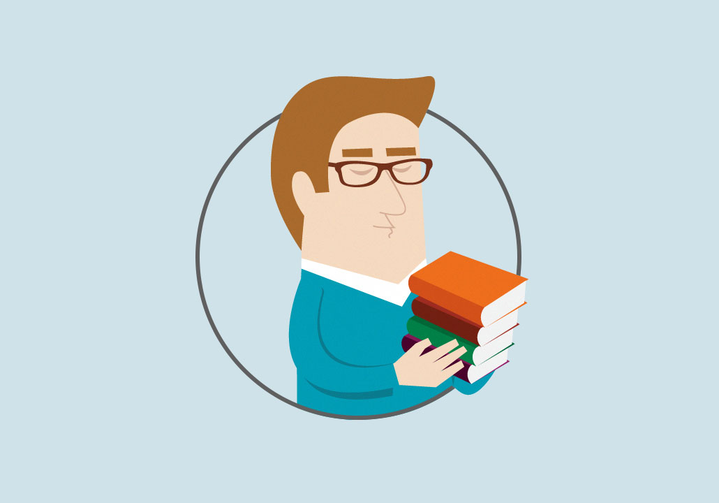 Thumbnail image for the CFORP project, representing a cropped vector illustration of a man wearing glasses and a blue sweater, holding a pile of books in his hands.