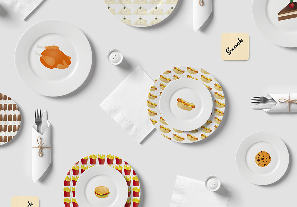 Thumbnail image for the Snack project, representing a top view of illustrated plates, napkins and cutlery laid on a light grey background.
