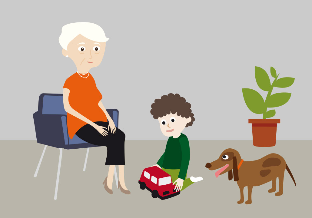 Thumbnail image for the Parenting Today project, representing a vector illustration a grandmother sitting in a lounge chair and watching her small brown dog and her grandson play with a red car on the floor.