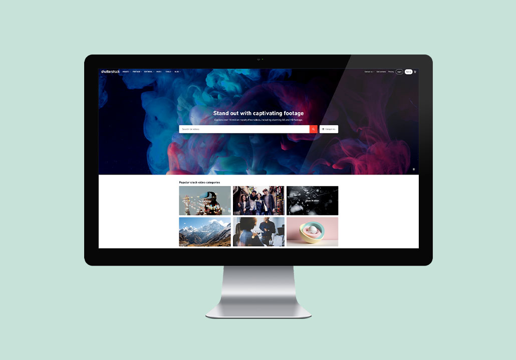 Thumbnail image for the Shutterstock Footage project, representing an iMac display on a pale green background, with the website homepage on screen.