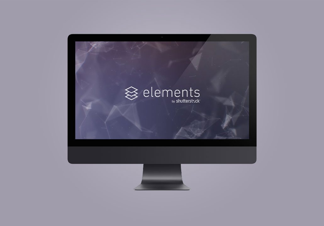 Thumbnail image for the Shutterstock Elements project, representing an iMac display on a heather background, with the Elements by Shutterstock logo on screen.