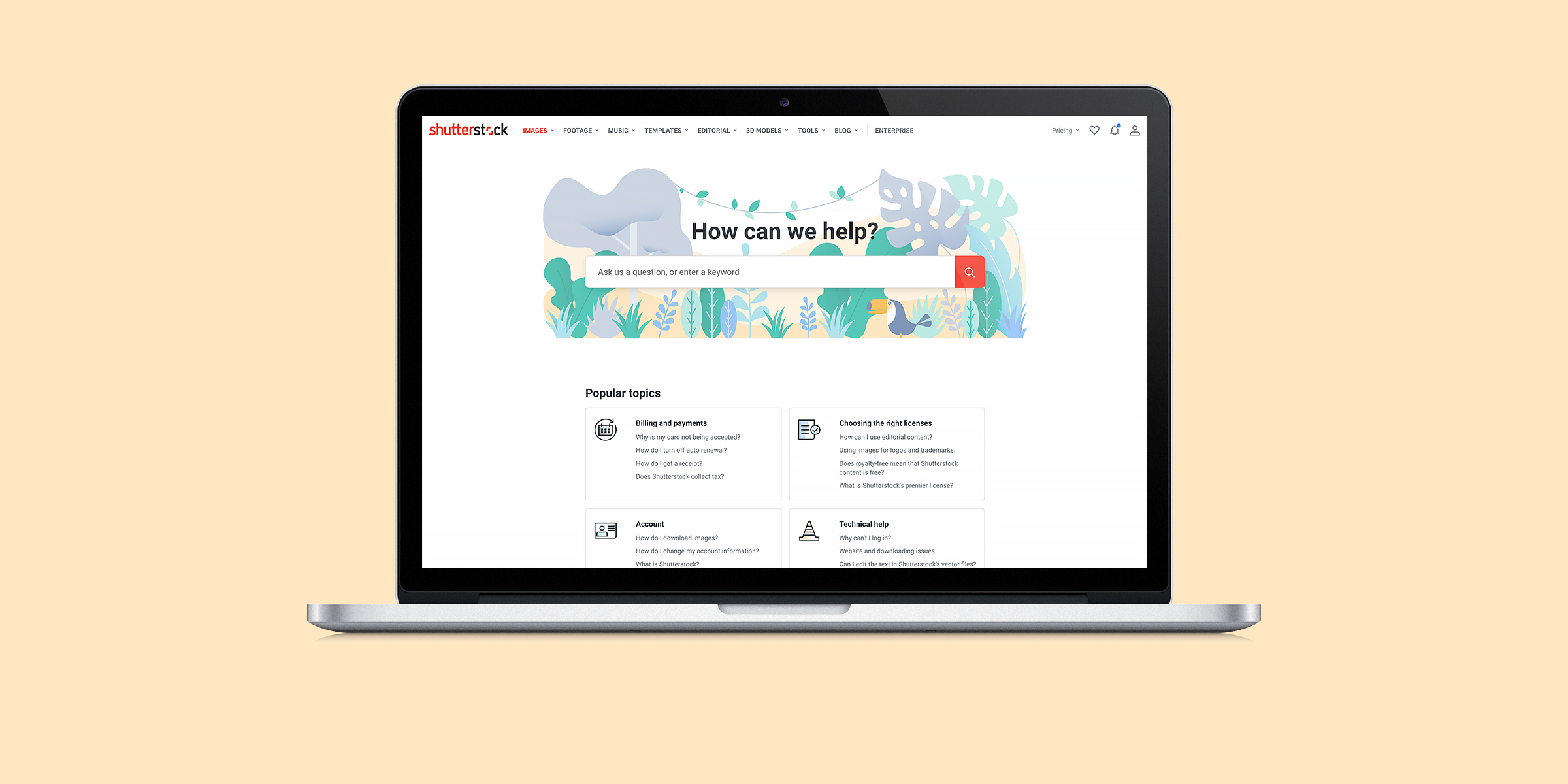 Header image for the Shutterstock illustrations project, representing a laptop on a pale yellow background, with the Shutterstock help page on screen. The hero image of the help page is an illustration of a jungle with various plants and trees as well as a small toucan, in pastel green, purple, blue and yellow colors.