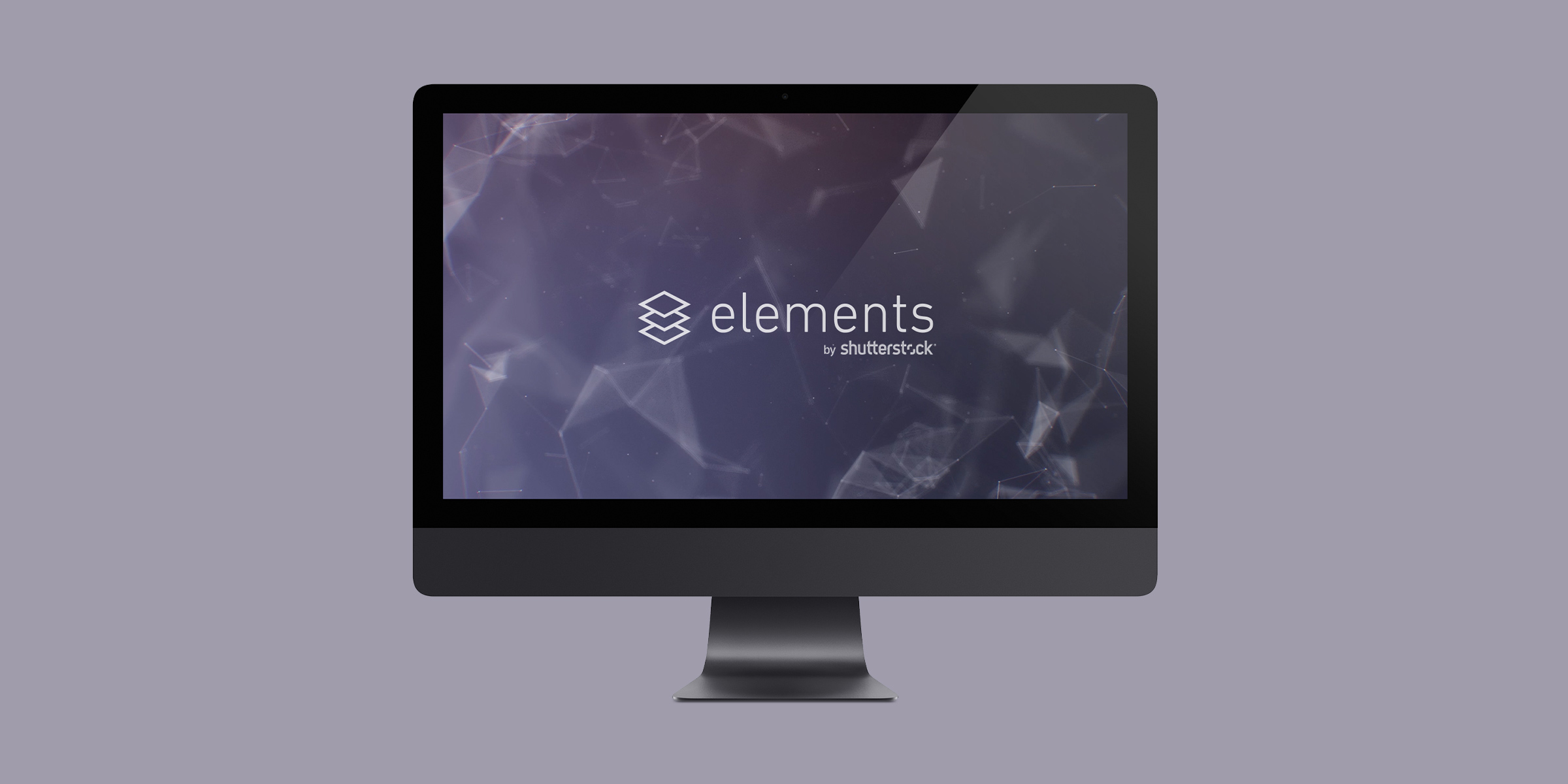 Header image for the Shutterstock Elements project, representing an iMac display on a dark mauve background, with a white Elements logo floating on a mauve, abstract background on screen.