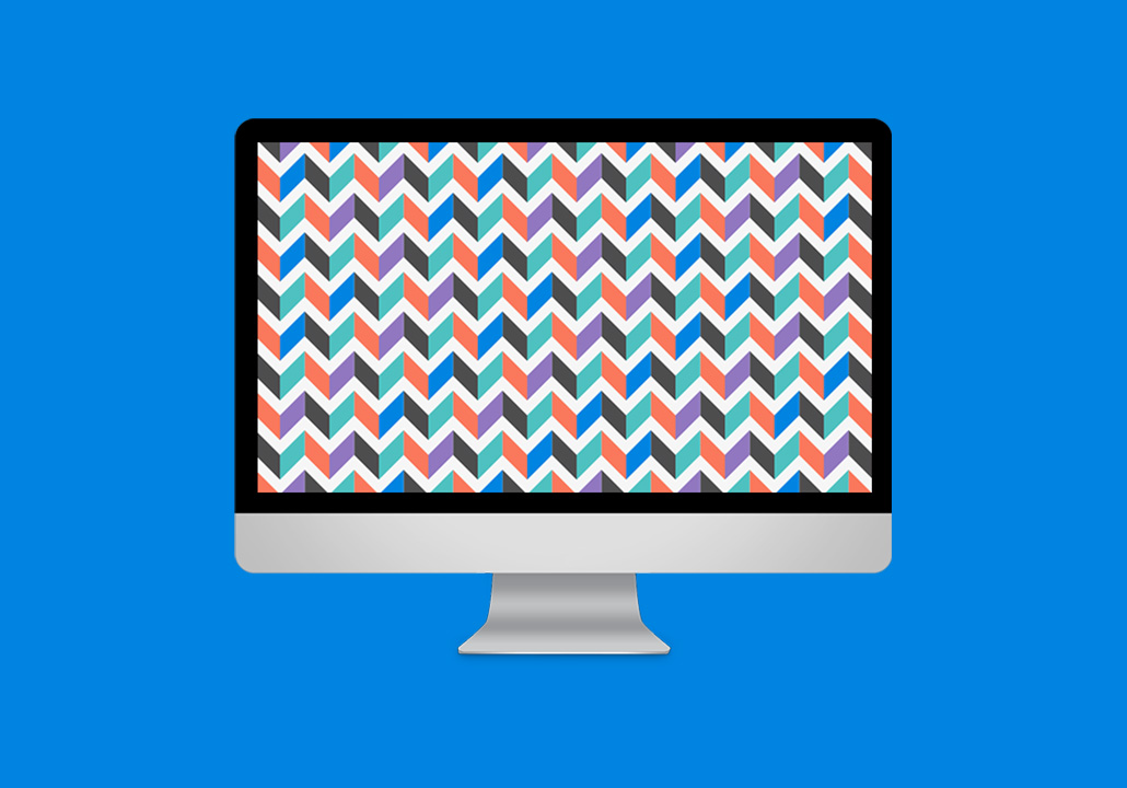 Thumbnail image for the AFG + Perspective project, representing an iMac display on a blue background, with a red, blue and green geometric pattern on screen.