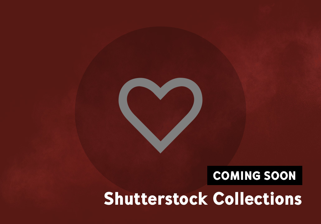 Thumbnail image for the Shutterstock Collections project, representing an heart icon on a red background and a label in the bottom right corner saying coming soon.