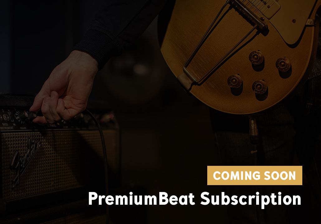 Thumbnail image for the PremiumBeat subscription project, representing a cropped image of a a guitare, and a hand turning a knob on a Fender amplifier, as well as a label in the bottom right corner saying coming soon.
