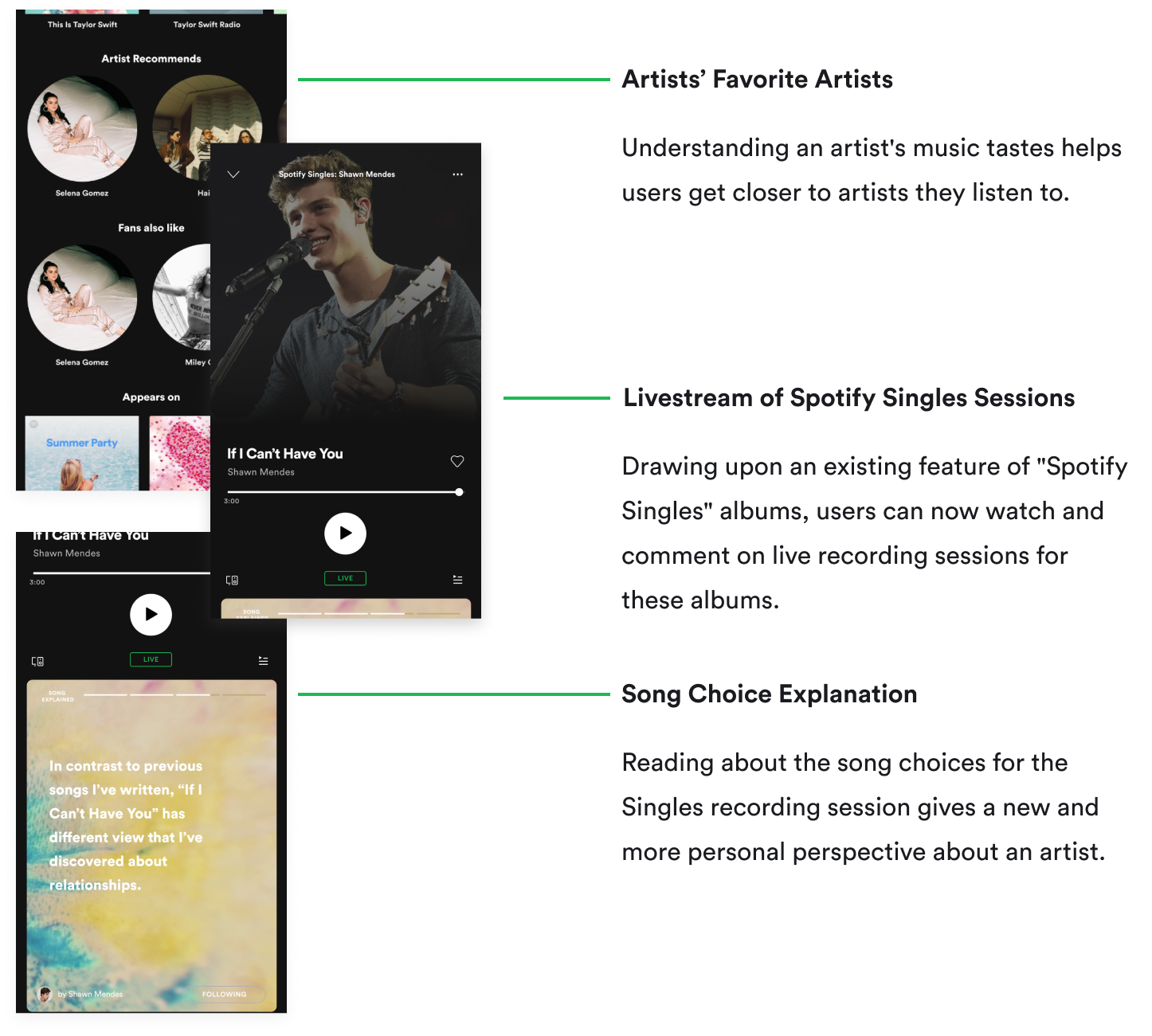 Picture of Spotify's Screens for Different Artist Content
