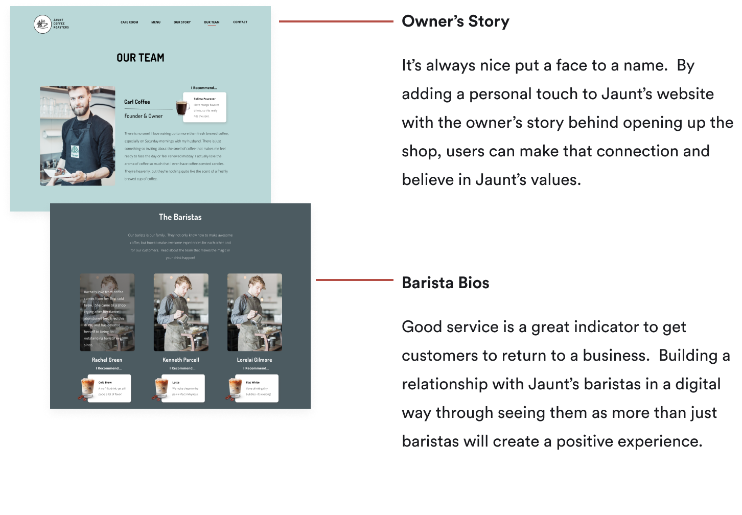 Picture of the Pages for Jaunt's Owner and Baristas