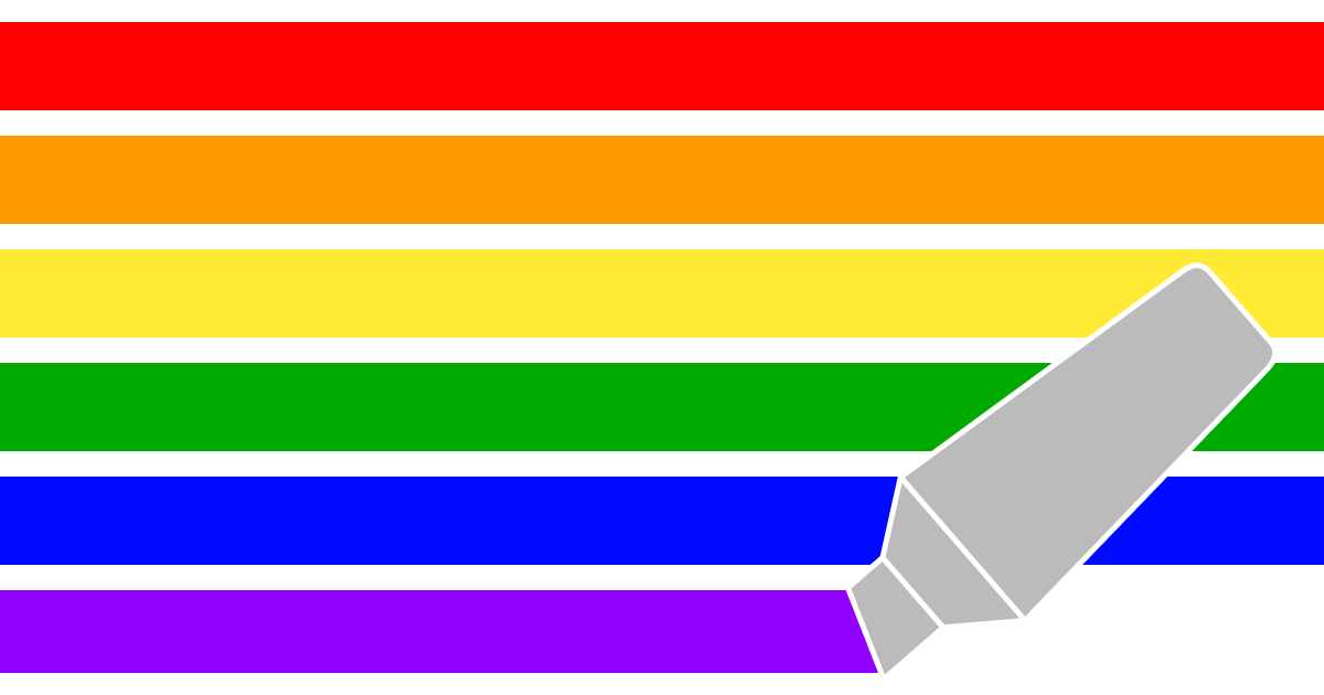 LGBTQ+ pride flag as if drawn by a highlighter pen. (Article originally published during Pride month.)