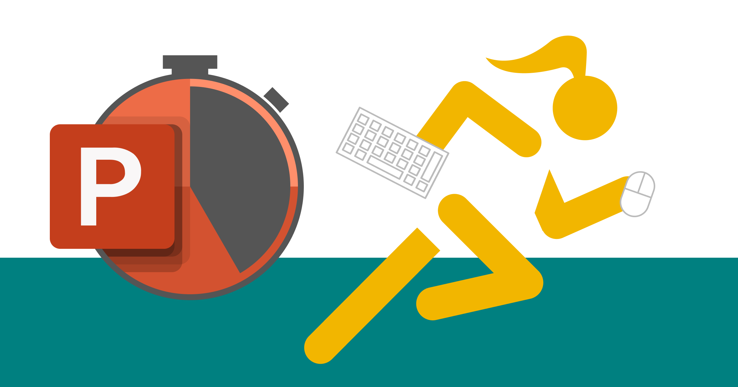 A stylised image showing the PowerPoint application icon as a stopwatch and an athlete sprinting with a keyboard in one hand and a mouse in the other