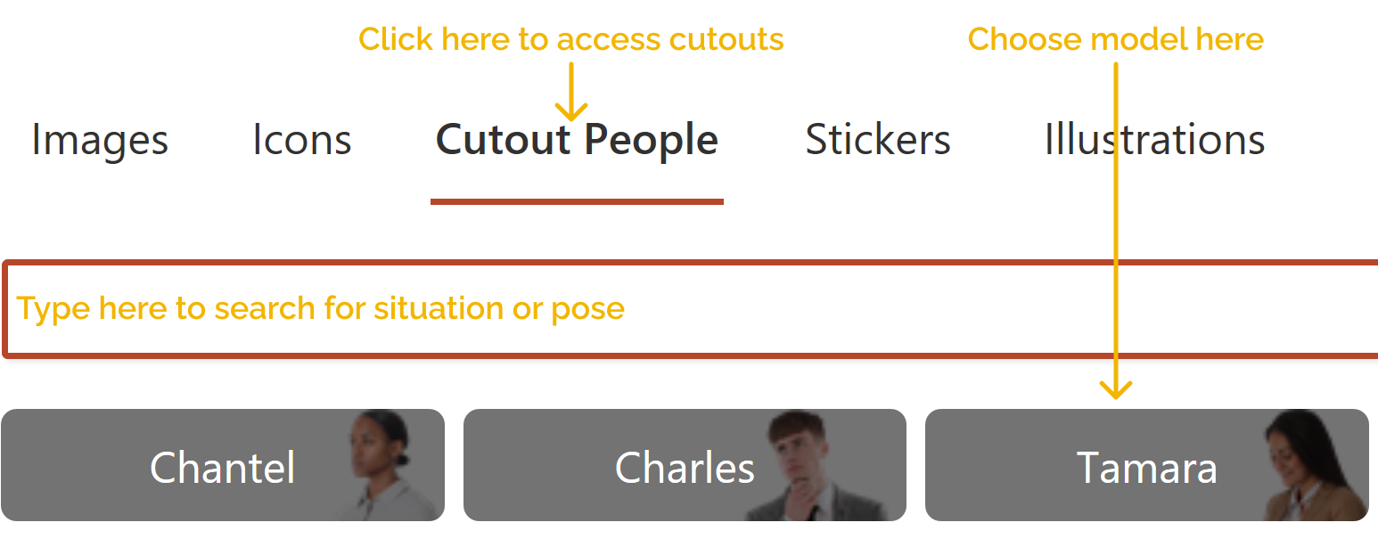 Screenshot of how to select cut-outs