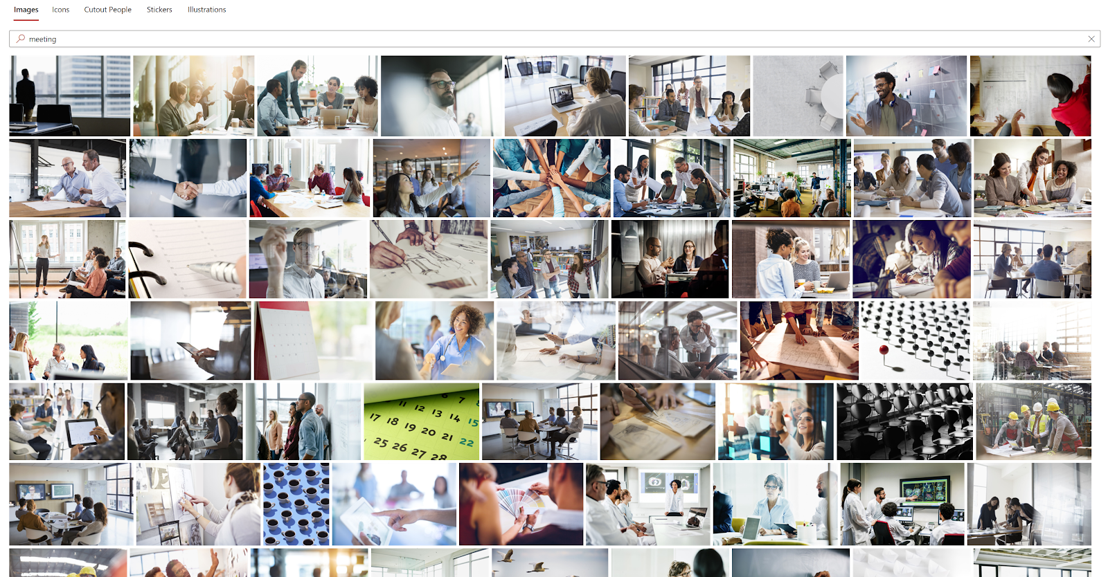 Screenshot of many images of meetings