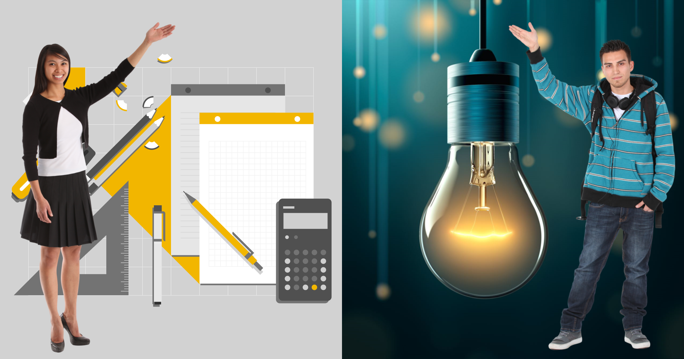 Collage of images including cut-out photos of two people, a photo of a lightbulb and an illustration of desk equipment
