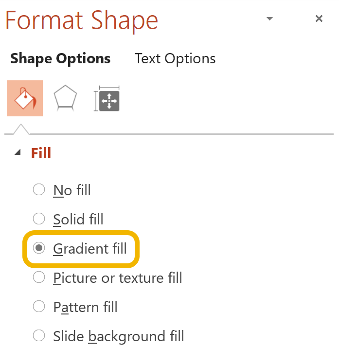 Screenshot of where to find the gradient fill pane