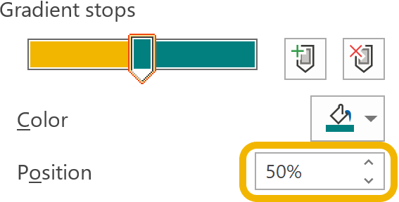 Screenshot highlighting how to set the stop position
