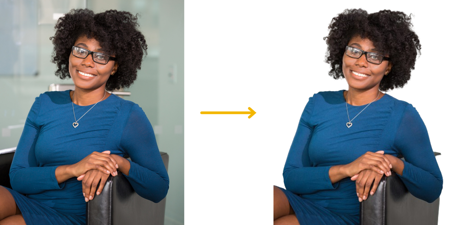 Before and after images of a photo of a woman with and without background