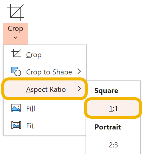 A screenshot of how to crop in a square or 1:1 ratio