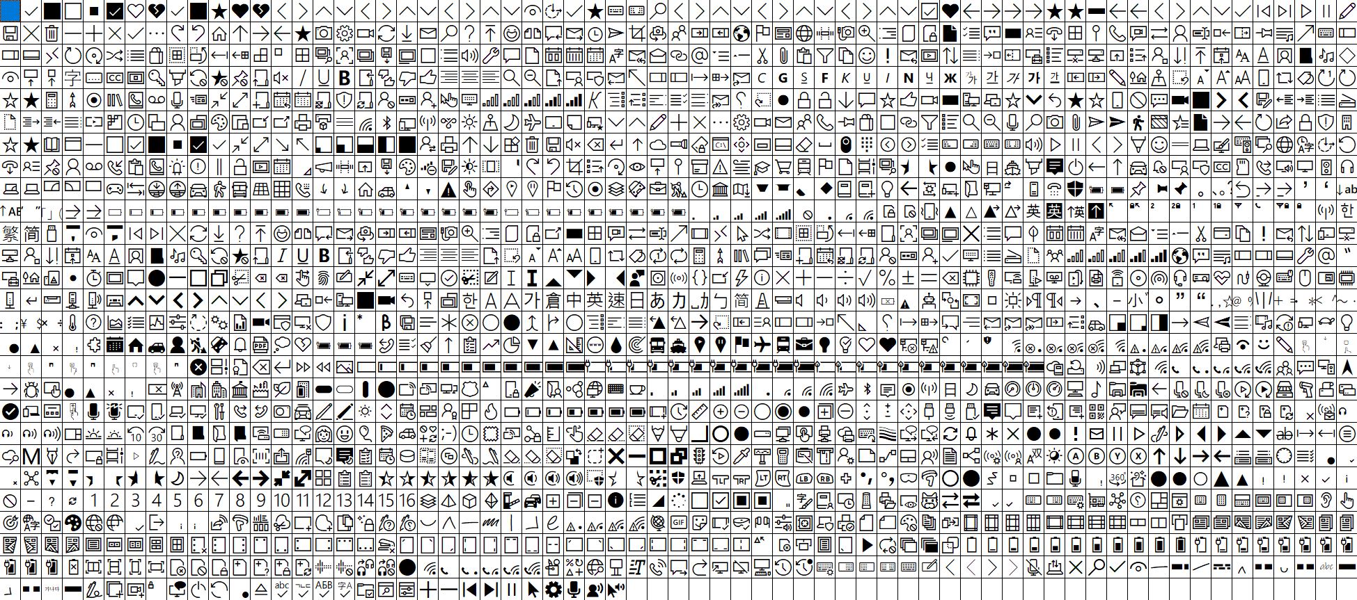 Screenshot of all MDL2 icons available as a grid of very small images
