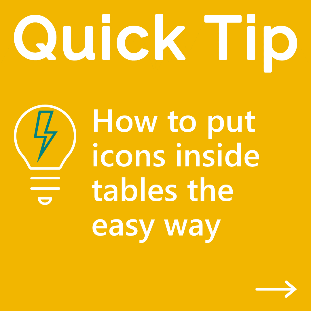 Image a slide containing two tables with a list of useful icons from the Segoe font family