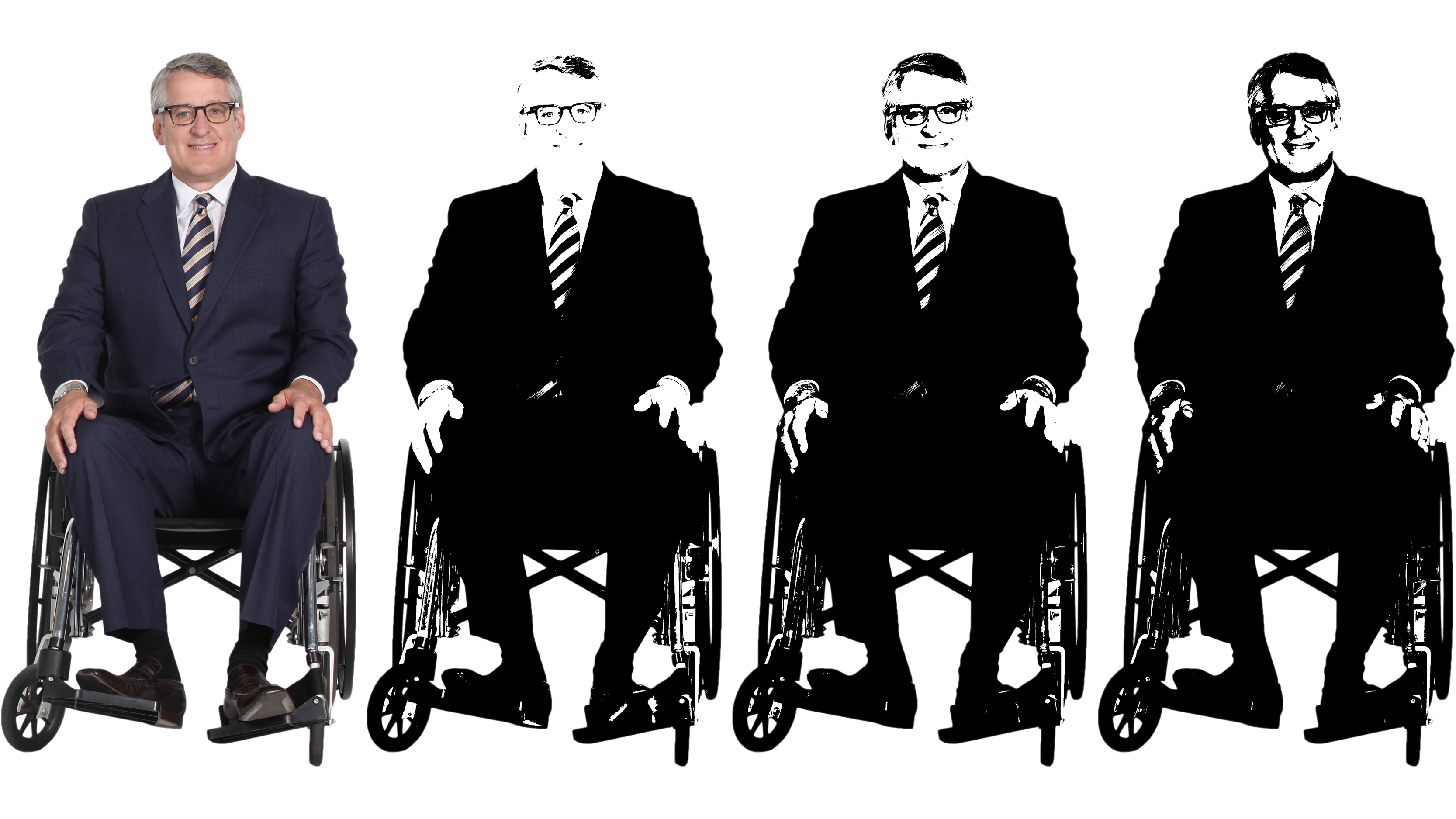 Image of a man in a wheelchair, turned to black and white with high contrast and varying amounts of brightness,