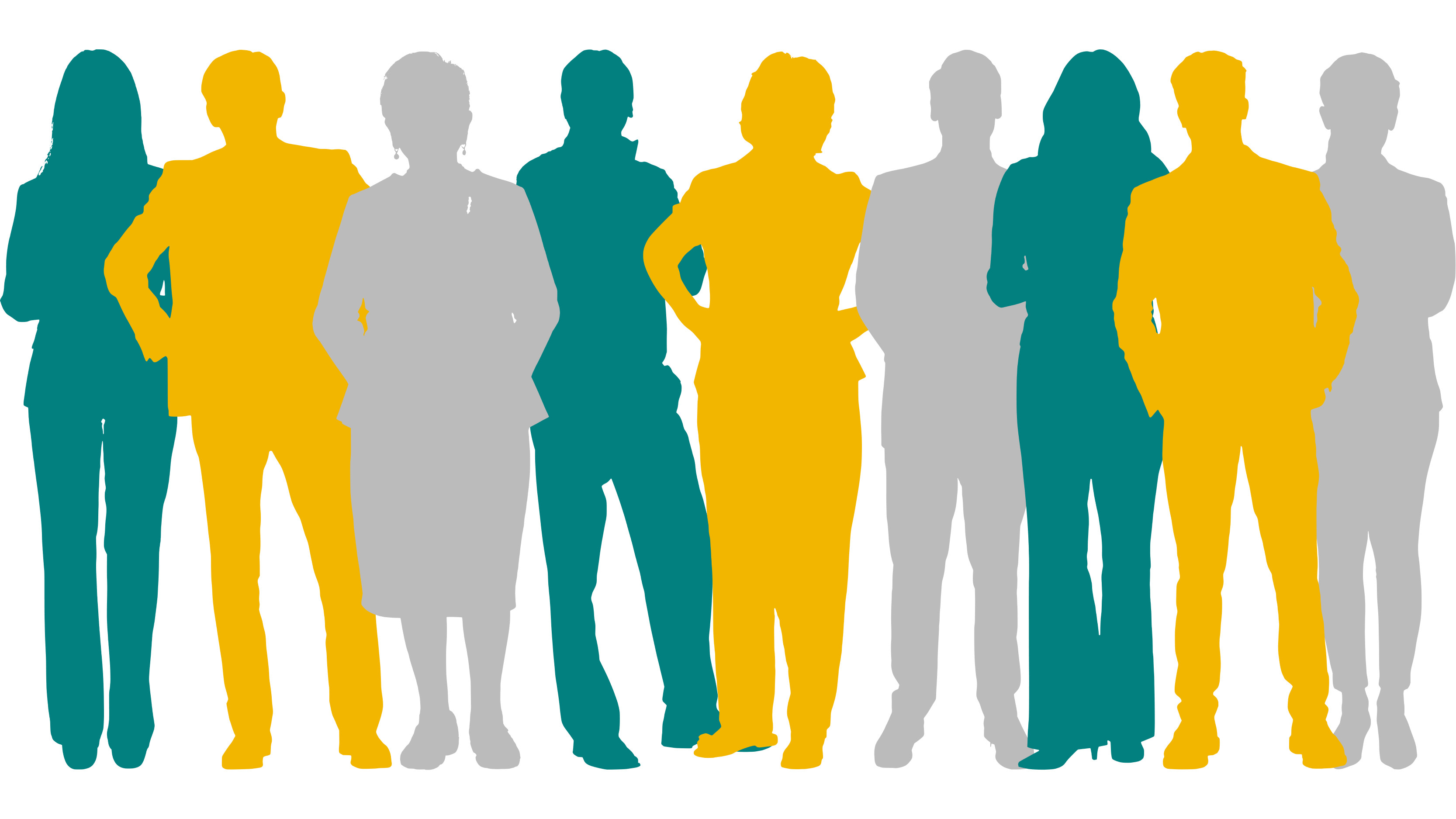 Group of slightly overlapping coloured silhouettes