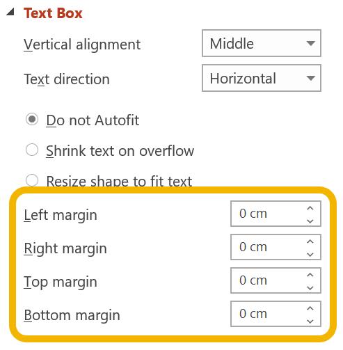 Screen shot of text margin settings