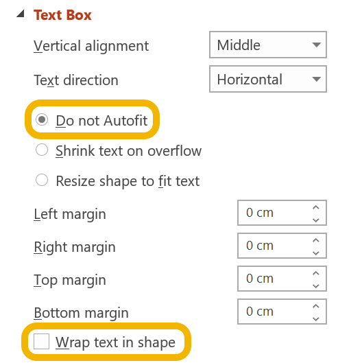 Screen shot of Do not Autofit and Wrap text options