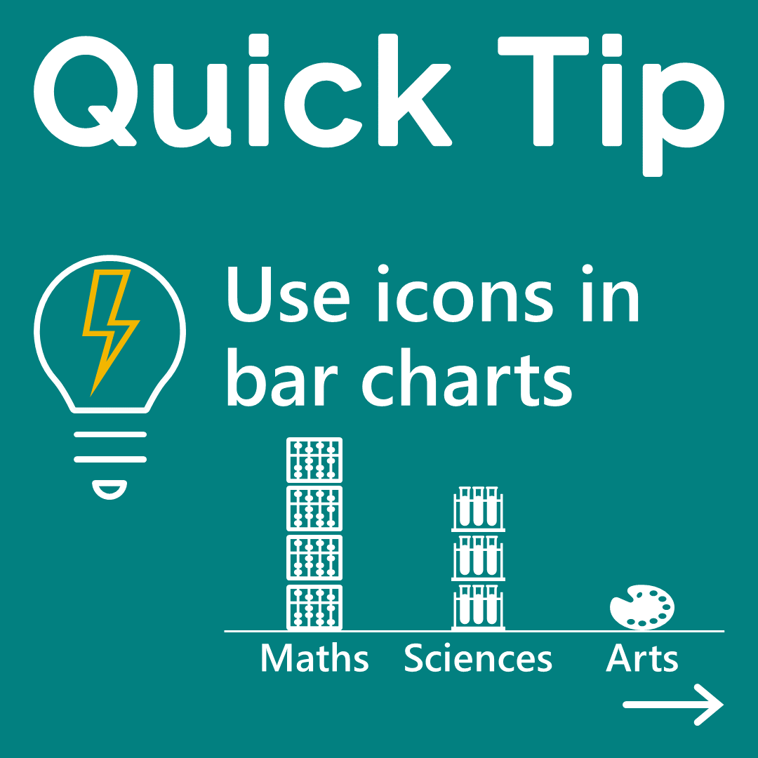 An example column chart built with icons