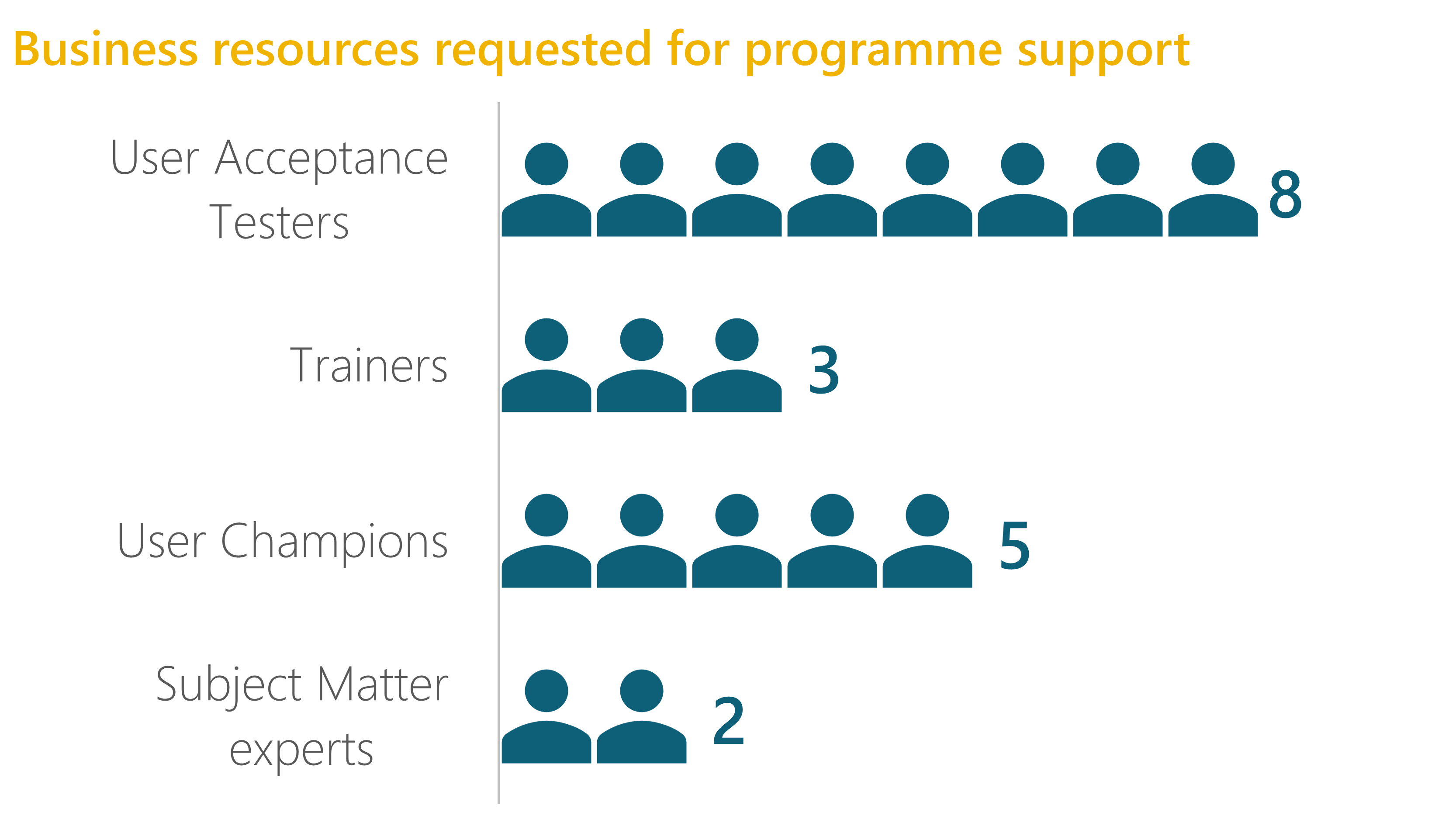 Bar chart indicating resources requested from business to support programme