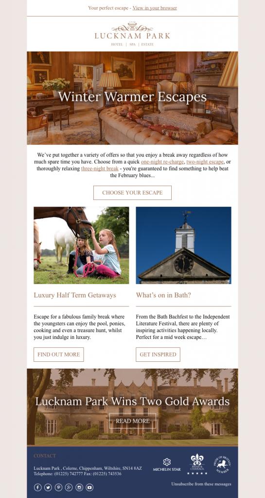 Lucknam Park email campaign