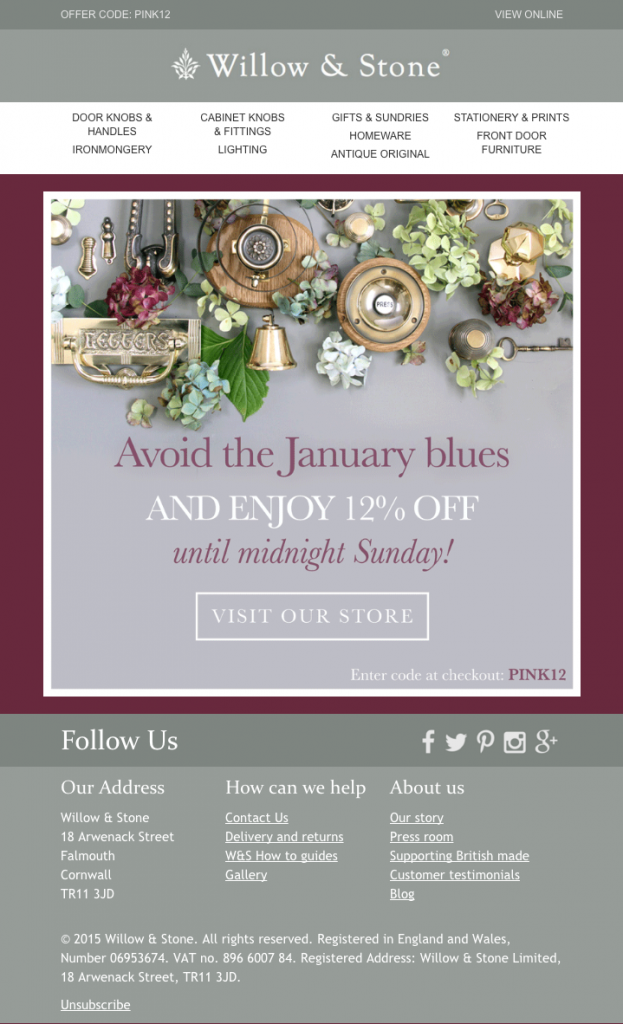 Willow and Stone email campaign