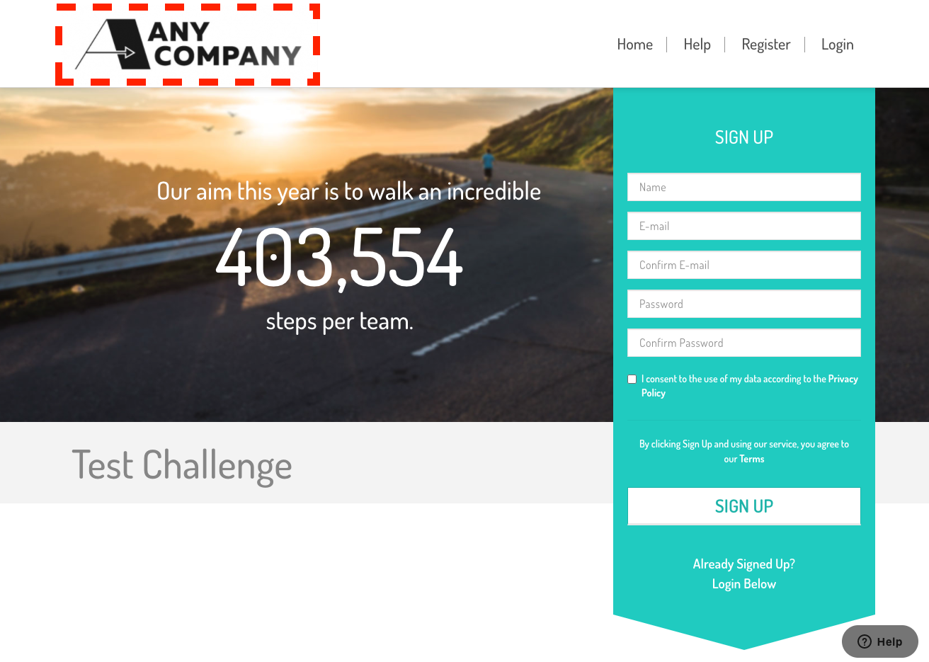 a screenshot of the landing page with the new logo added