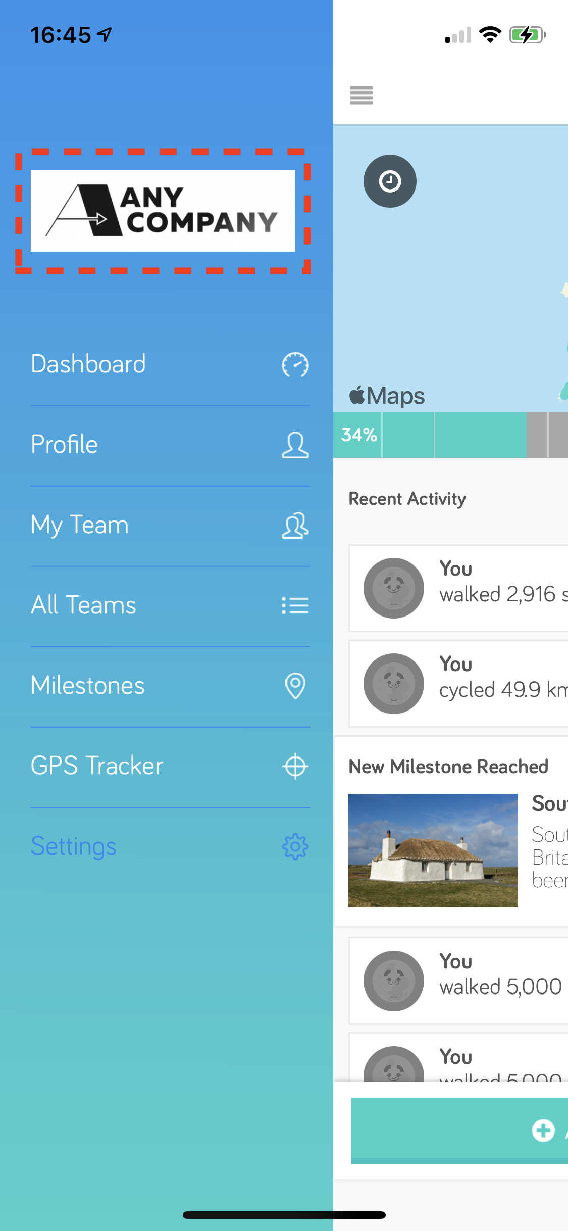 a screenshot of the app sidebar navigation with the new logo added