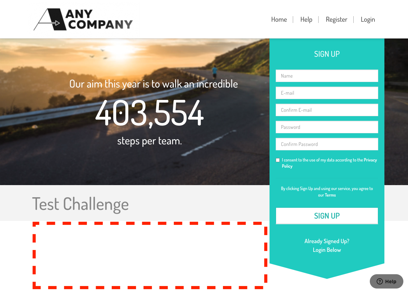 Your organisations landing page and the area where you can add text and images is highlighted
