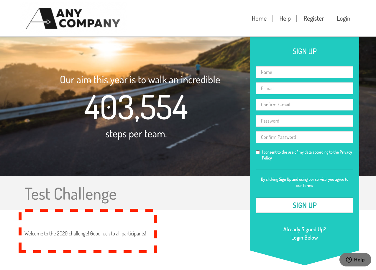 the landing page with the new text added