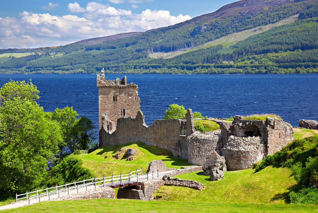 Castle ruins looking over Lock Ness, Scotland.