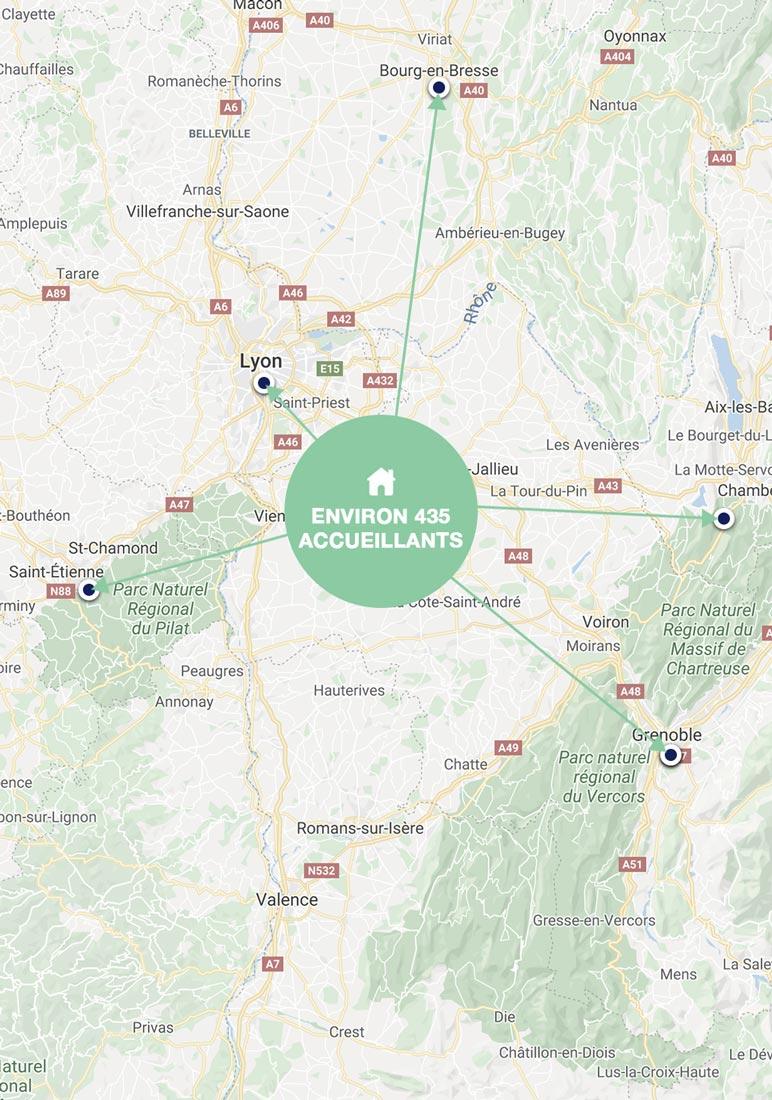 Carte de l'accueil familial MonSenior dans le Rhône, l'Isère, l'Ain et la Savoie.