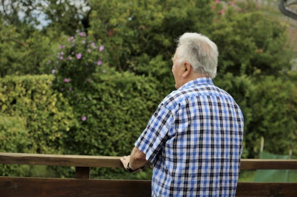 Personne âgée de dos dans la nature