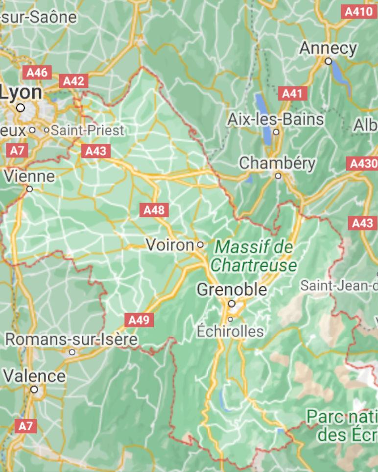 Carte de l'accueil familial MonSenior en Isère