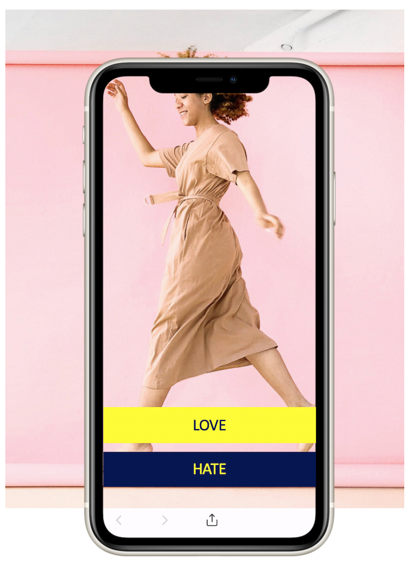 Woman wearing a dress shown on a phone screen for gathering consumer insights