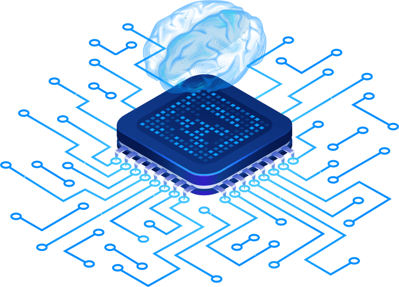 A brain hovering over a cpu representing the fusion of technology and intelligence or artificial intelligence