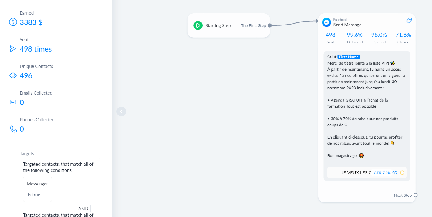 A chatbot broadcast flow showing the results generated on the side