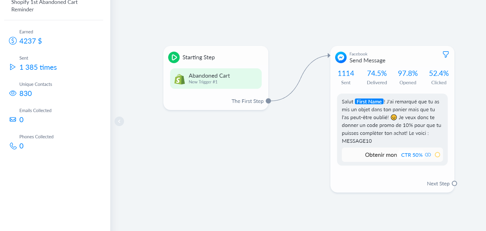 An abandonned cart chatbot flow showing how it generated over $4,000 being sent 1,385 times