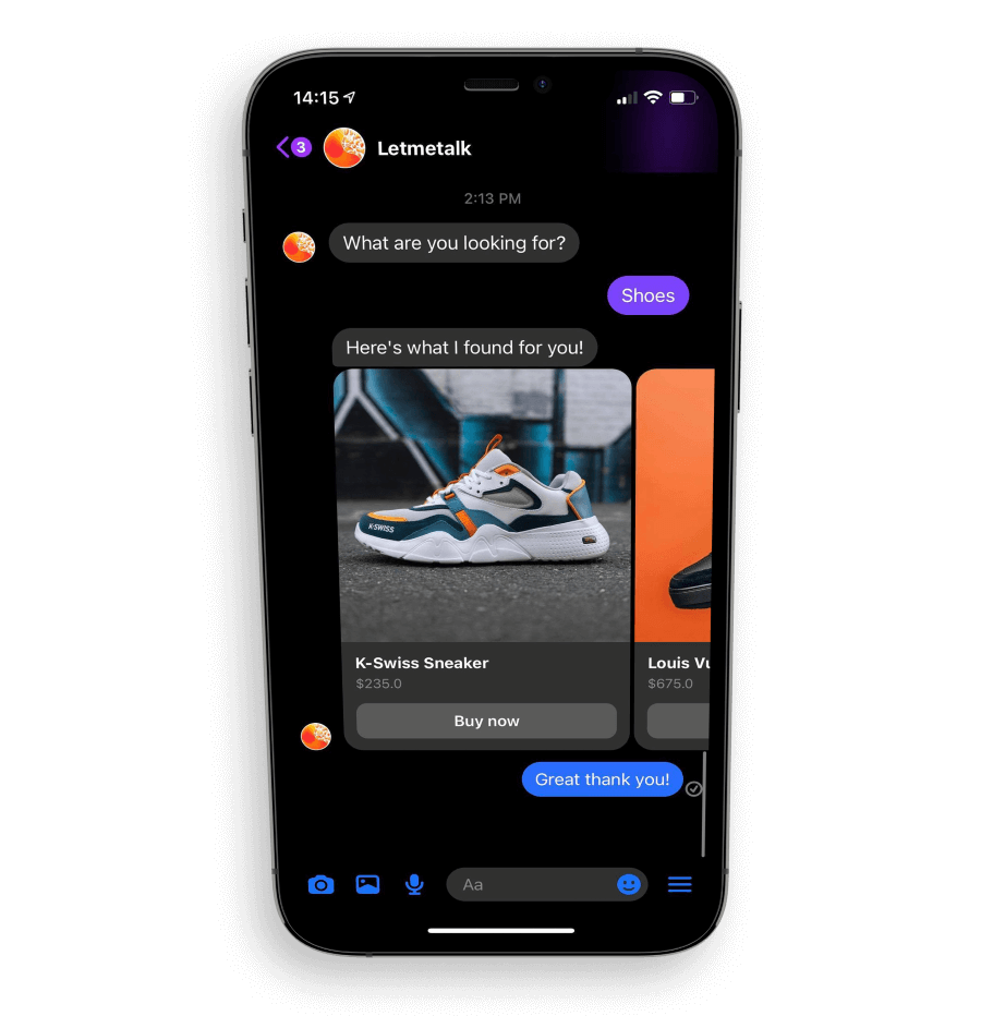 An iPhone showing an ecommerce chatbot conversation
