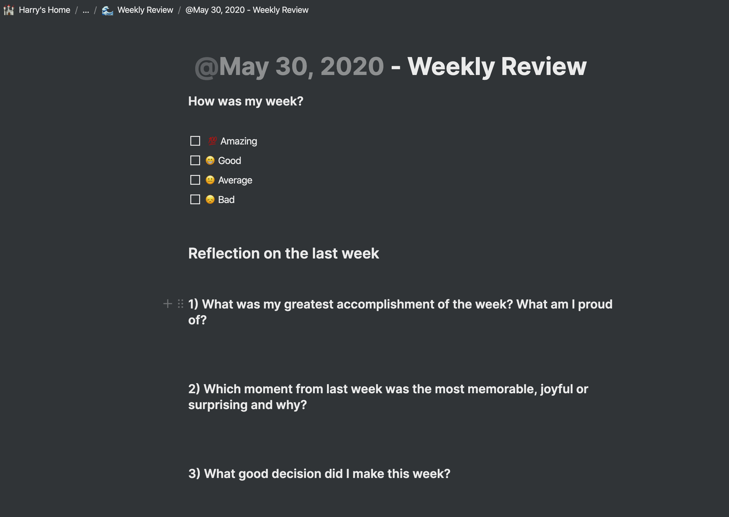 notion weekly review