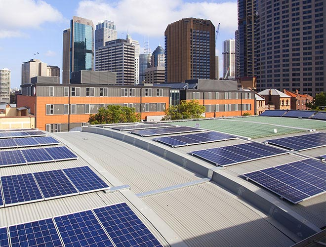 Commercial solar panels rooftop in Sydney