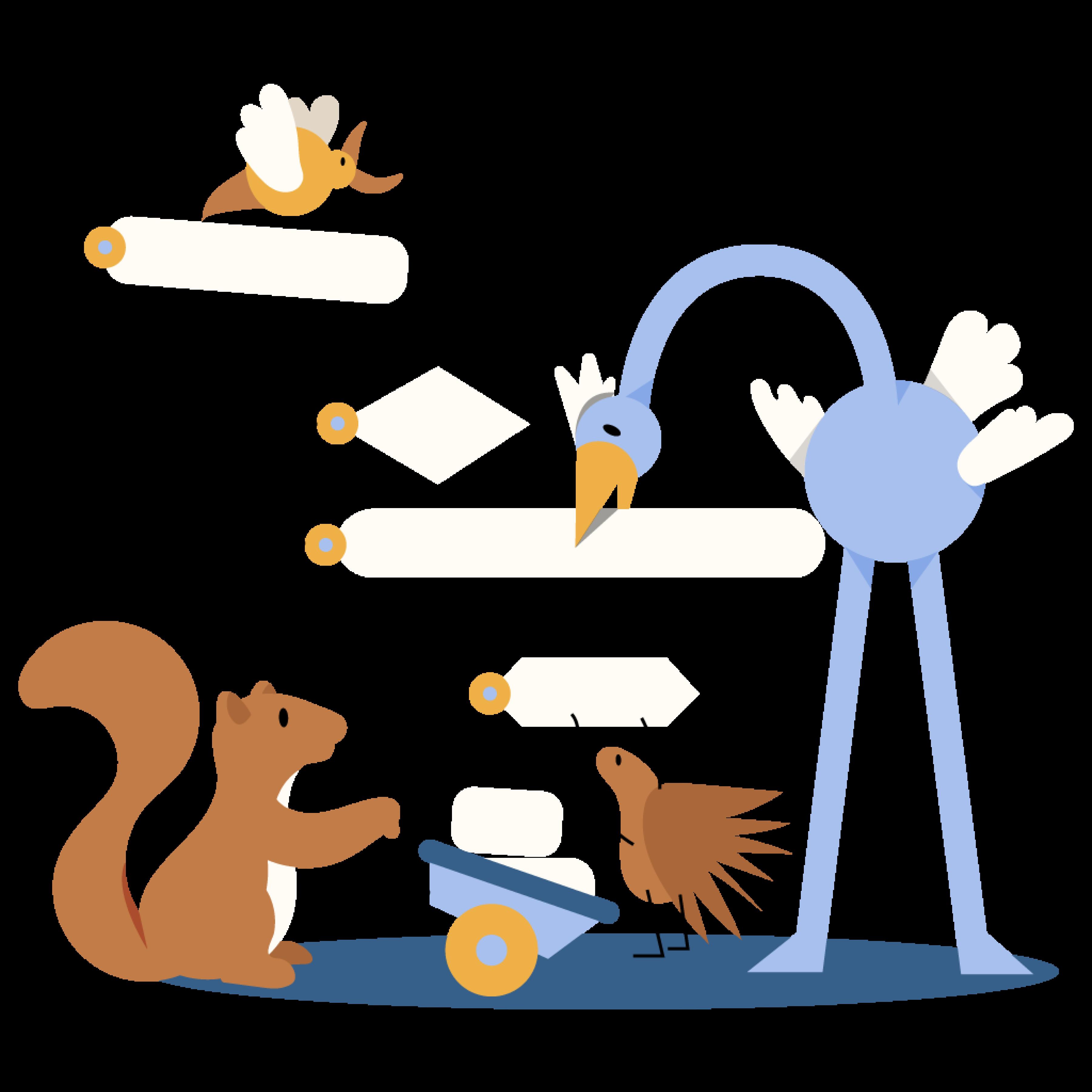 Animals building a code flow