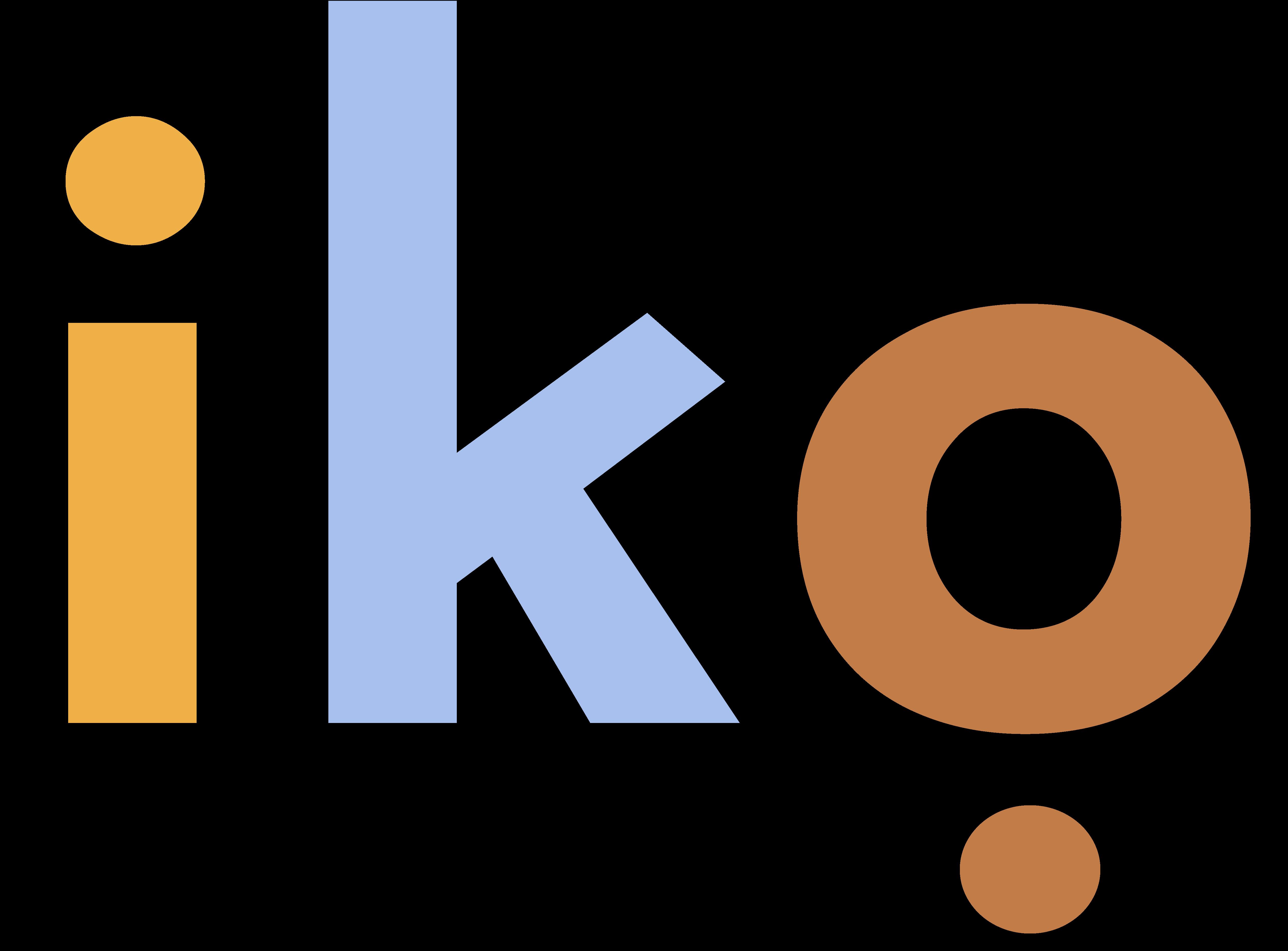 Iko logo in yellow, periwinkle, and terra cotta
