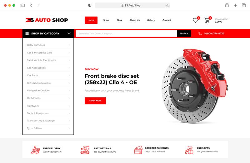 3S Auto Shop Responsive Website Mockup